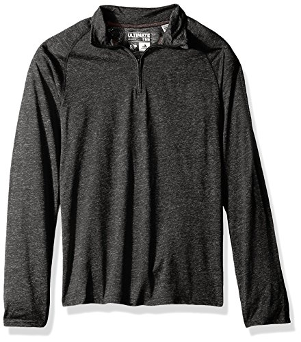 adidas Adult Men White Noise Casual Ultimate 1/4 Zip Tee, Black Heathered, X-Large