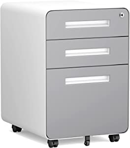 File Cabinet 3 Drawers, Mobile Filing Cabinet with Lock, Rolling File Cabinet with Keys Under Desk, Modern File Cabinet for Home Office with Anti-tilt Wheels, A4/Letter/Legal Hanging File Drawers