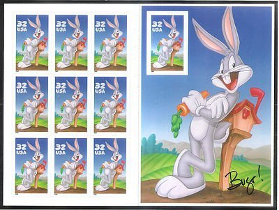 USPS Bugs Bunny Sheet of Ten 32 Cent Stamps Scott - Stamps Old Postal