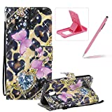 Strap Leather Case for Samsung Galaxy J3 2018,Wallet Flip Case for Samsung Galaxy J3 2018,Herzzer Bookstyle Stylish 3D Pretty Pink Butterfly Pattern Magnetic Stand PU Leather Case with Soft TPU