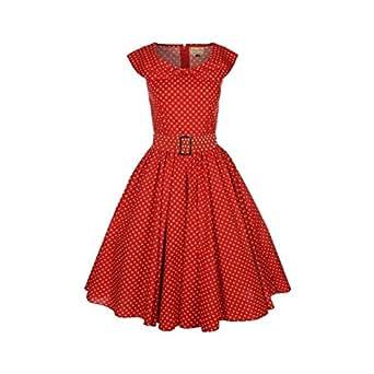 Lindy Bop 'Hetty' Red Polka Dot Bow Shawl Collar Vintage 1950's Dress (5XL)