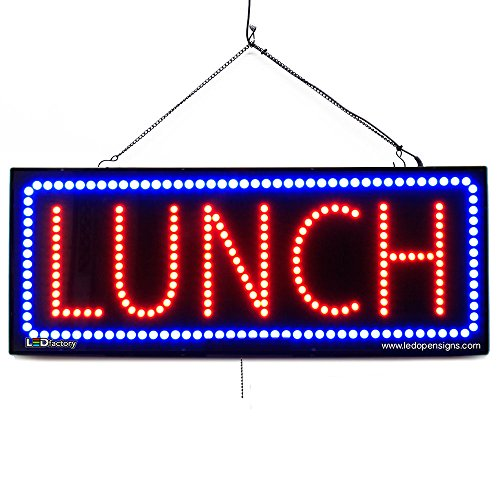 Grub Bar Sign - Large LED Window Restaurant Sign - Lunch - Extra Bright LEDs - Can Be Seen Through Tinted Windows - Extra Large - 32 inches Wide (#2654)