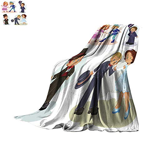 Bed Cover Set Clip Art Illustrations with Young Children in Historical Costumes Throw Blanket 90