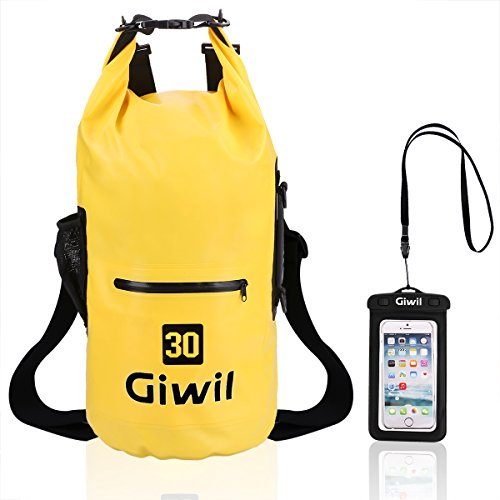 Waterproof Dry Bag Backpack - 20L, 30L, Dual Adjustable Straps, Zip Pocket & Phone Case