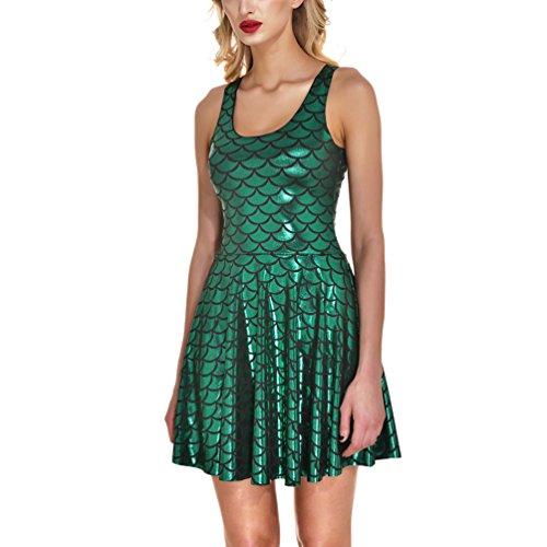 AISKLY Womens Mermaid Dress Plus Sleeveless Shiny Short Tank Pleated Party Print Skater -