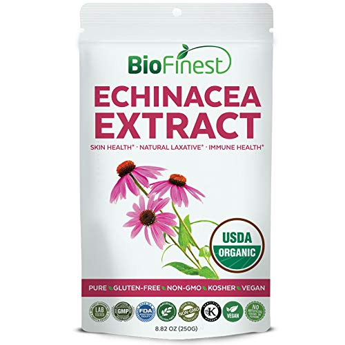 Biofinest Echinacea Extract Powder - USDA Certified Organic Pure Gluten-Free Non-GMO Kosher Vegan Friendly -Supplement for Healthy Stomach, Skin Care, Immune Health, Mood Enhancement (250g)