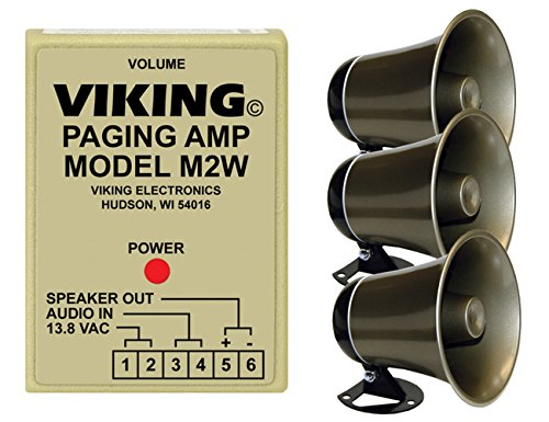 Viking Loud Call Announce/Ringing and Paging Power Amplifier with 2 Powered Speaker by Calhoun Promotions Group Inc