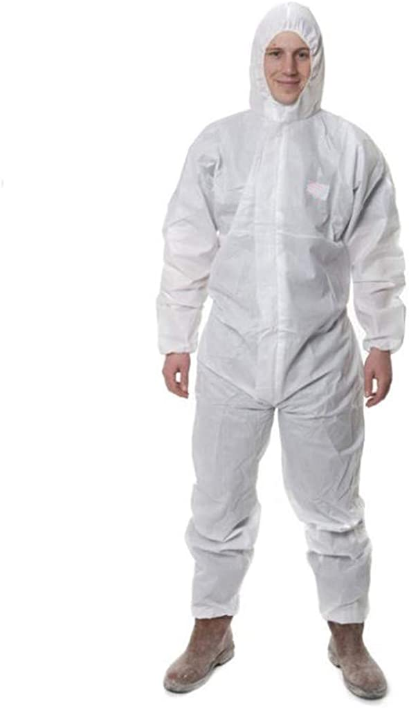TOTAMALA Unisex Hooded Protective Clothing Coveralls Anti-Dust Non-Porous Safety Apparel Isolation Gown Clothing