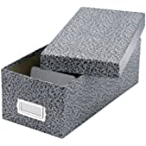 """Oxford Reinforced Board 6"""" x 9"""" Index Card Storage Box with Lift-Off Cover, Black/White Agate (40591)"""