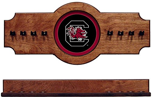 (NCAA South Carolina Gamecocks USCCRR100-P 2 pc Hanging Wall Pool Cue Stick Holder Rack - Pecan)