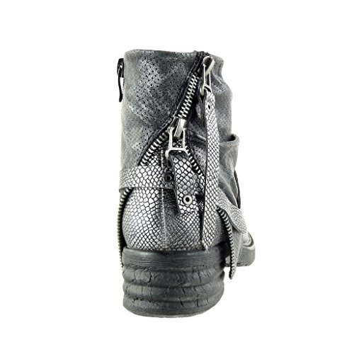 Angkorly - Chaussure Mode Bottine motard cavalier effet vieilli femme peau de serpent perforée clouté Talon bloc 3.5 CM - Noir