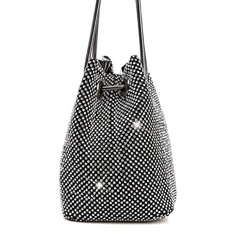 Evening Evening Handkerchief Handbag Black WUHX Bag Ladies Dress Diamond Wedding Capacity Bag Bucket Large Bag Party Bag Fashion wfgqXcq5