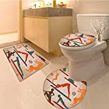 3 Piece Anti-slip mat set Collection Fitness Pattern Colorfu Line Art Young Jumping and Jump Game Cartoon Joy Non Slip Bathroom Rugs