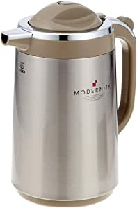 Tiger Vacuum Insulated Thermal Carafe Handy Jug, Stainless Steel Brown, Made in Japan (1.34L PRT-S130)
