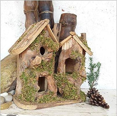 mzq Caja de nido de aves de madera de casa hecha a mano para pájaros de madera de jardín Casa de aves de madera Casa de nidos de pájaros: Amazon.es: Hogar