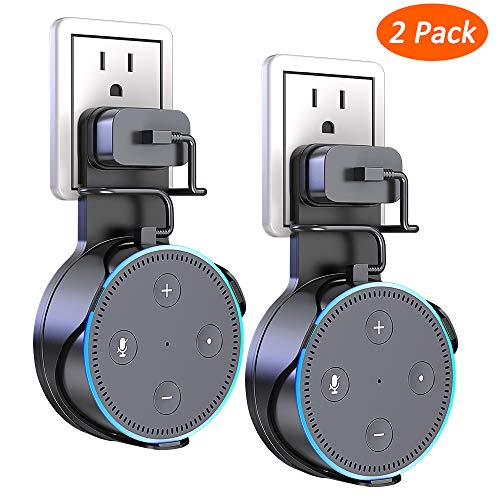Matone Outlet Wall Mount Holder Stand for Home Voice Assistants, A Space-Saving Solution for Your Smart Home Speakers, Clever Dot Accessory with Cord Arrangement Hides Messy Wires - Black, 2pcs by MATONE