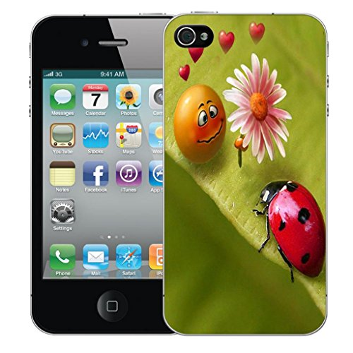 Mobile Case Mate iPhone 4 4s clip on Dur Coque couverture case cover Pare-chocs - love bugs Motif