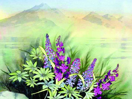 McGowan's TufTop Fireweed Lupine Tempered Glass Cutting Board, 12 by 9-Inch