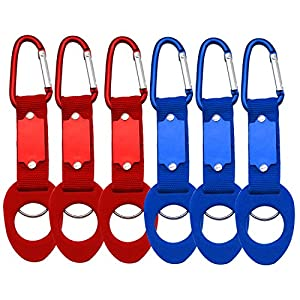 Water Bottle Drink Buckle Hook Holder Clip Key Chain Ring, Portable Carabiner for Camping Hiking Traveling. 6 Pack