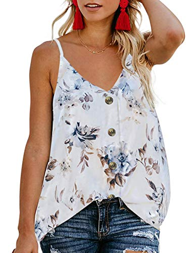 TECREW Women's Boho Floral V Neck Spaghetti Straps Tank Top Summer Sleeveless Shirts Blouse (Flower#1-White 1, XL) ()
