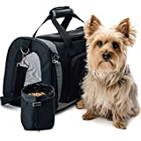 The Original GORILLA GRIP Pet Purse Carrier Bag for Dogs or Cats, Free Travel Bowl, Locking Safety Zippers, Airline Approved, Up to 15lbs, Sherpa Insert, Perfect for Airplane, Train, and Car Travel