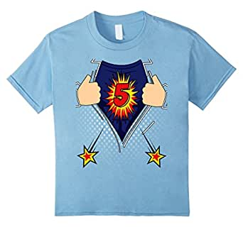 Kids birthday shirt 5 superhero boy 39 s 5th Boys superhero t shirts