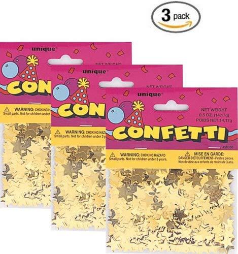 Foil Gold Star Confetti (3 Pack, Gold)
