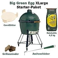 Big Green Egg Starter Paket XLarge Keramikgrill Grill-Set XXL Keramik schwarz Ceramic Smoker Garten ✔ Lenkrollen mit Bremse ✔ Deckel ✔ oval ✔ rollbar ✔ stehend grillen ✔ Grillen mit Holzkohle ✔ mit Rädern