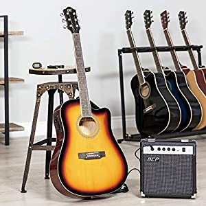 Best Choice Products 41in Full Size Acoustic Electric Cutaway Guitar Set w/10-Watt Amp, Capo, E-Tuner, Case, Accessories from Best Choice Products