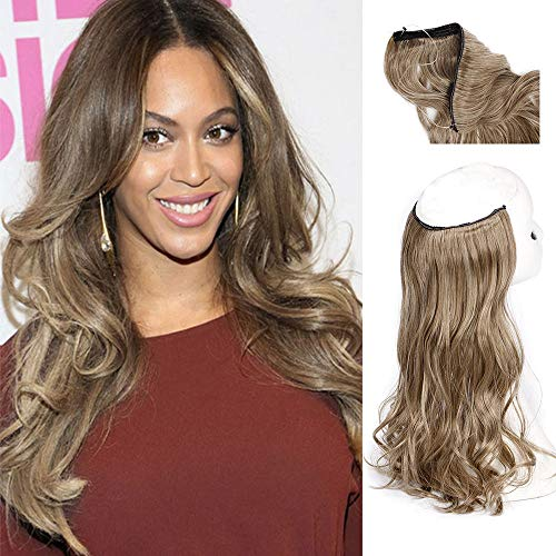 AISI BEAUTY Invisible Wire Hair Extensions Curly Fish Line Synthetic Wavy Hair Piece with invisible wire Hair Extension 20 Inches Colored Brown Mixed Blonde(6-613#)