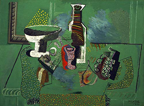 """Pablo Picasso Green Still Life 1914 Metropolitan Museum of Art New York, NY 30"""" x 22"""" Fine Art Giclee Canvas Print (Unframed) Reproduction"""
