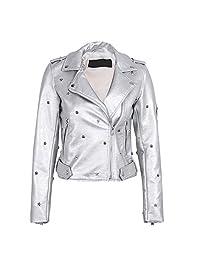 Jeff Tribble Women PU Leather Jacket Coat Rivet Outerwear Zipper Faux Leather Coat Autumn Winter Jacket