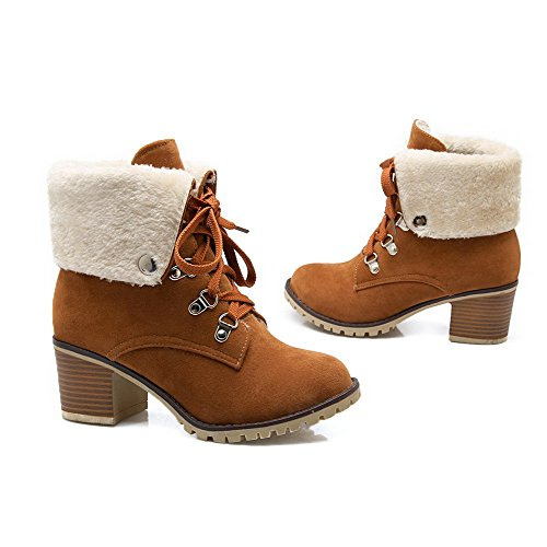 Frosted Boots Round Low Top Allhqfashion Color Assorted Women's Heels Toe Closed Brown High TYUqP5w1q