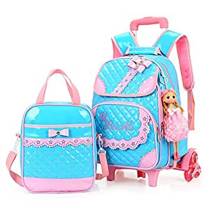 Hollwald Cute Fashion Lovely Trolley Bag Girls Wheeled Travel Rolling Backpack/Rucksack for Short Breaks Holidays Sleepovers and School Trips Two-piece set Luggage with Small Book Bags Waterprooffor Boys Girls Kids Teenagers Students (Blue)