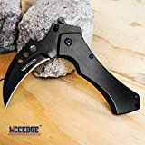 KCCEDGE BEST CUTLERY SOURCE Pocket Knife Camping Accessories Survival Kit 5 Inch Grim Reaper Scythe Tactical Knife Hunting Knife Camping Gear 78524 (Black) (Color: Black)