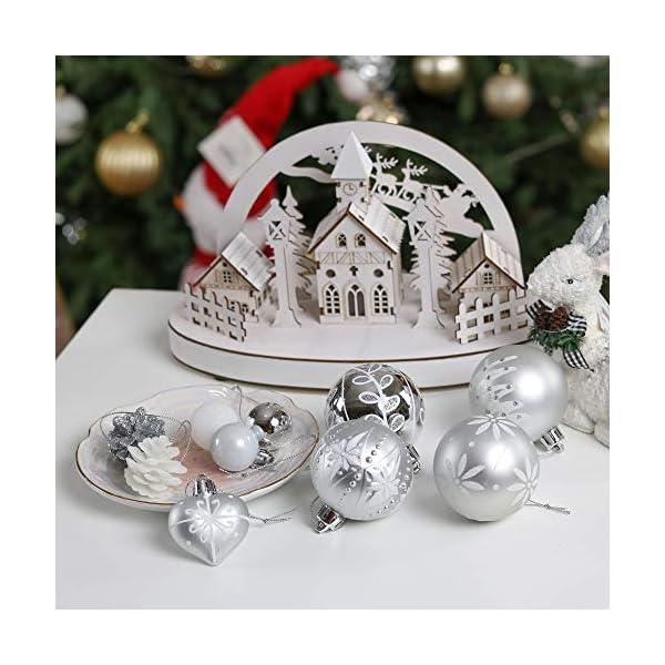 Victor's Workshop 70 Pezzi di Palline di Natale, 3-6 cm congelato Inverno Argento e Bianco Infrangibile Ornamenti Palla di Natale Decorazione per la Decorazione Dell'Albero di Natale 7 spesavip
