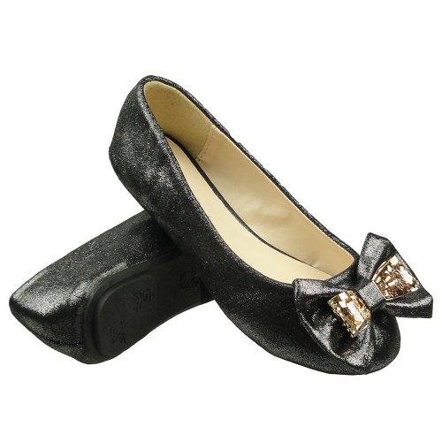 Girls Kids Ballet Flats Glitter Metal Bow Comfort Dress Shoes Black Size 4