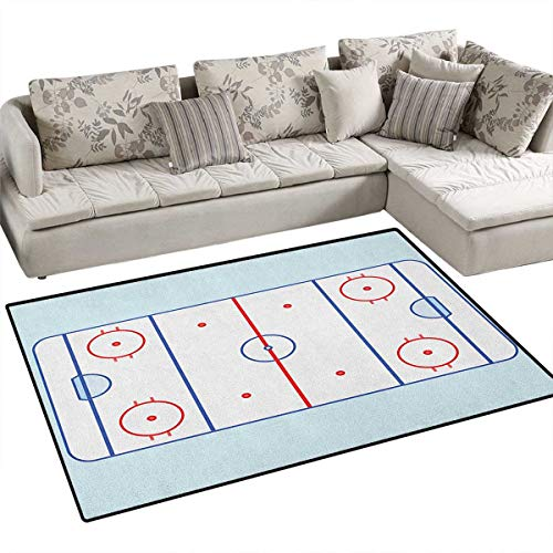 Hockey,Floor Mat,Ice Hockey Field in Blue Tones and Red Graphic Outline for Sport Events,Small Rug Carpet,Blue Red Pale Blue Size:48