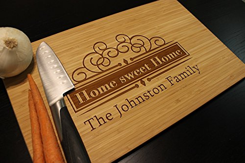 Personalized Home Sweet Home Elegant Cutting Chopping Board Family Kitchen Decor Real Estate Closing Organic Bamboo or Beech Block 17