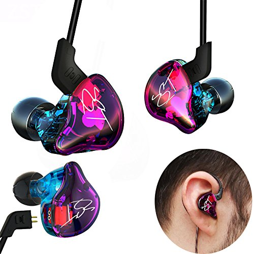 KZ ZST Colorful Hybrid Banlance Armature Dynamic Dual Driver Hifi In-ear Earphone Monitors Noise Isolating Music Sports Headset Super Bass Headphone 3.5mm Removable Wired (Color Without Microphone) ()