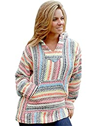 Rainbow Pinstripe Baja Hooded Pullover Pouch Pocket w/Brushing