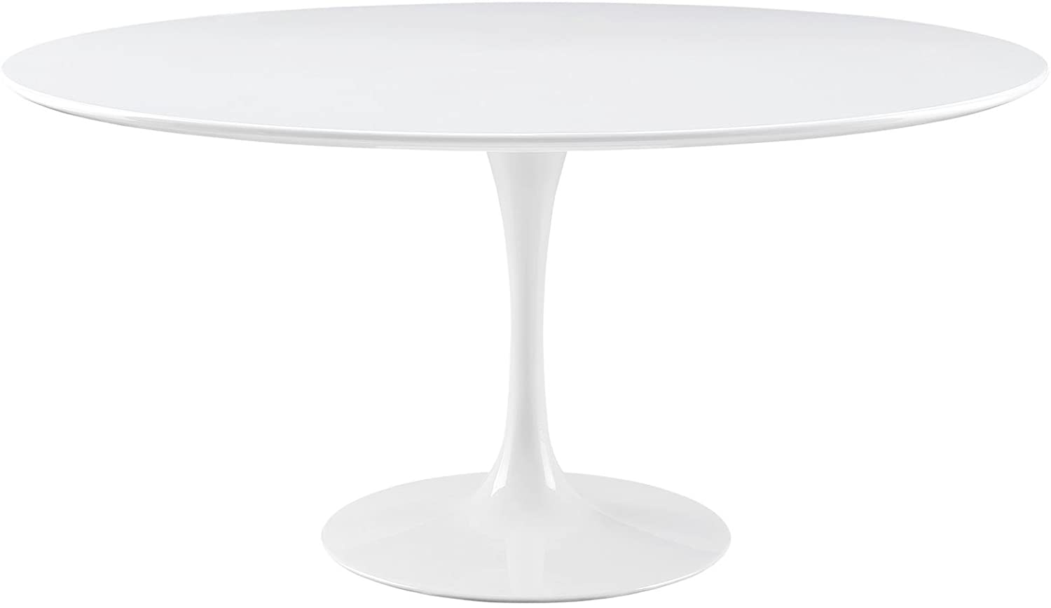 "Modway Lippa 60"" Mid-Century Modern Kitchen and Dining Table with Round Top and Pedestal Base in White"