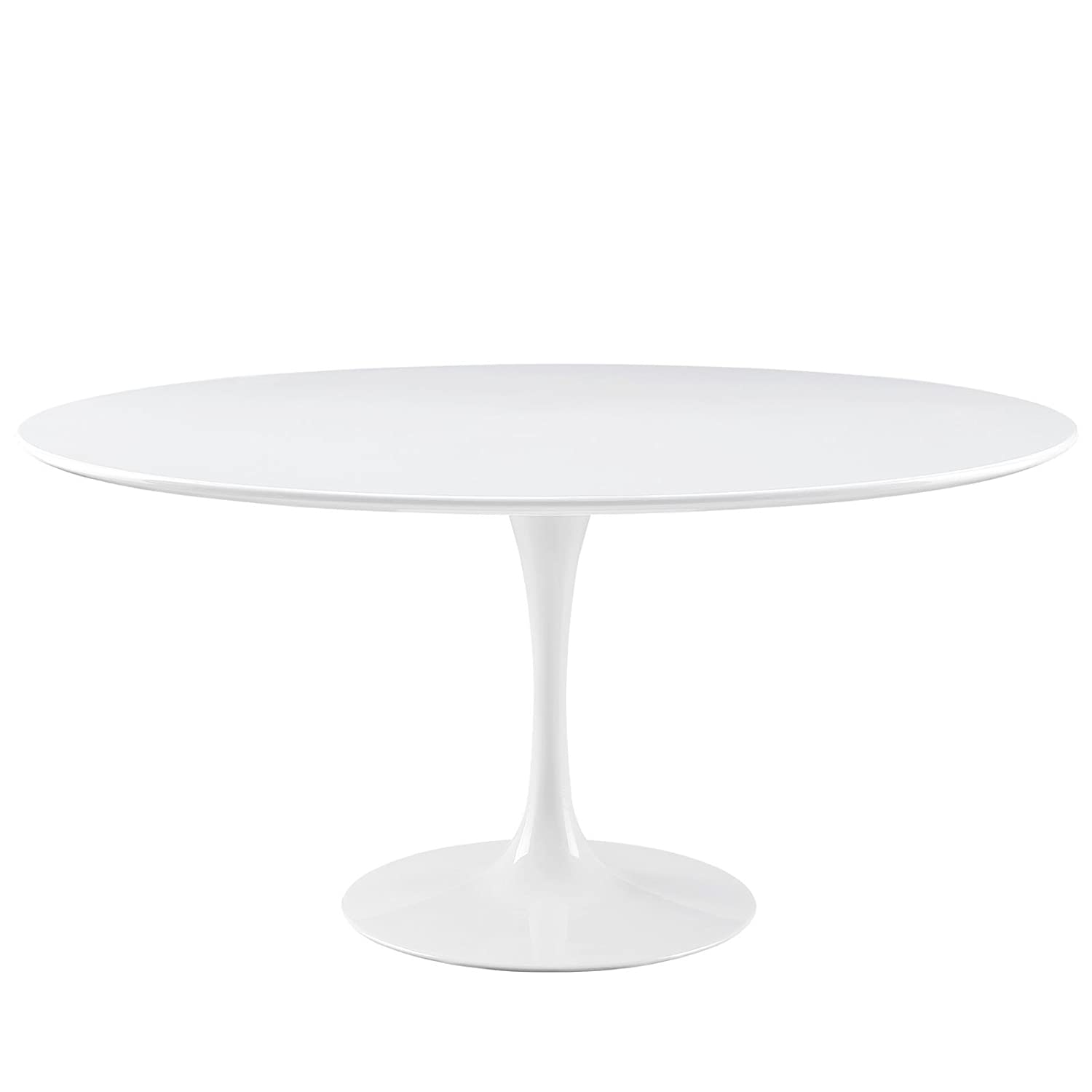 Modway Lippa 60 Mid-Century Modern Kitchen and Dining Table with Round Top and Pedestal Base in White