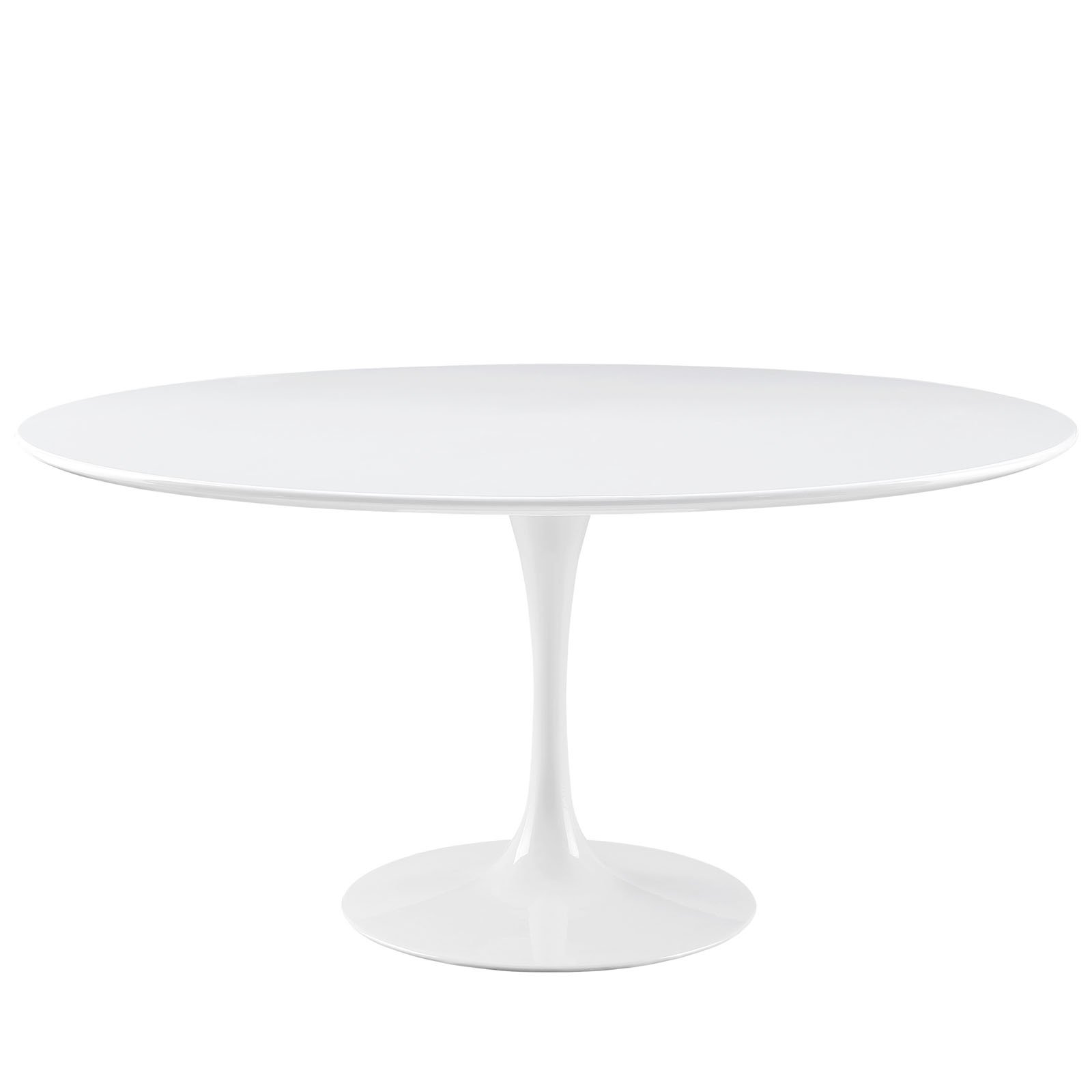 Modway Lippa 60'' Mid-Century Modern Kitchen and Dining Table with Round Top and Pedestal Base in White by Modway