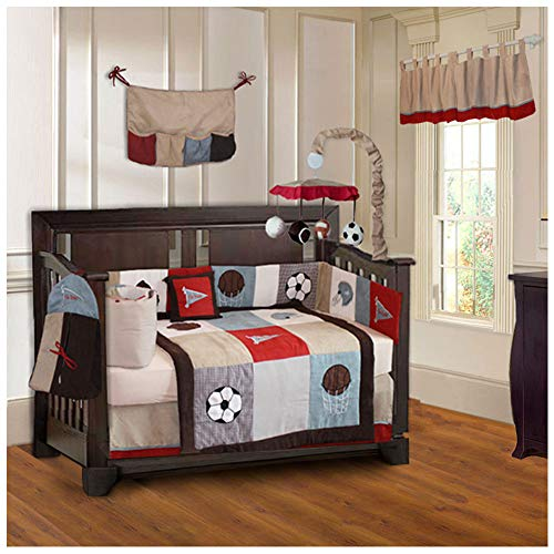 BabyFad Go Team Sports 10 Piece Crib Bedding - Mobile Football Baby