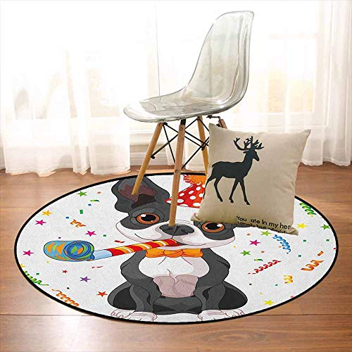 Kids Birthday Non-Slip Absorbent Carpet Black and White Boston Terrier Dog with Colorful Party Celebration Backdrop for Floor Carpets D39.7 Inch Multicolor