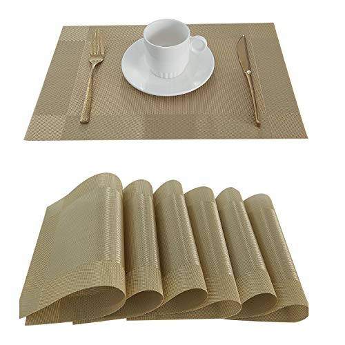 LIFONDER Placemats Table Mats Vinyl Woven for Dining Table Kitchen Insulation PVC Washable, Gold, Set of 6