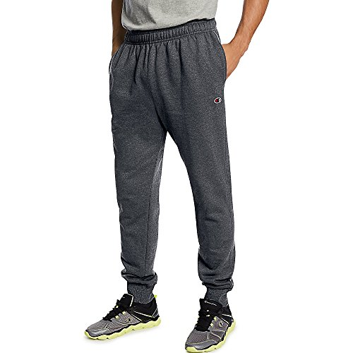 Champion Men's Powerblend Retro Fleece Jogger Pant_Granite Heather_M