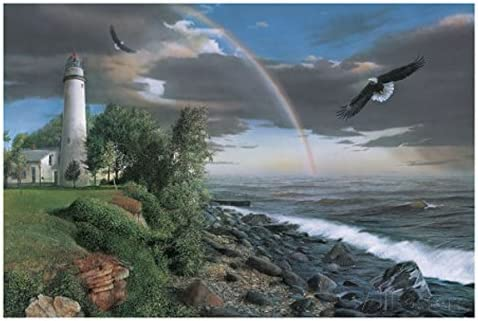 Eagles with Lighthouse by Kevin Daniel Animal Bird Coastal Print Poster 26x18