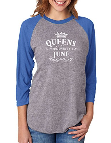 Queens are Born in June Birthday Gift 3/4 Women Sleeve Baseball Jersey Shirt Medium Blue/Gray